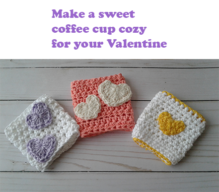crochet coffee cup sleeves with hearts