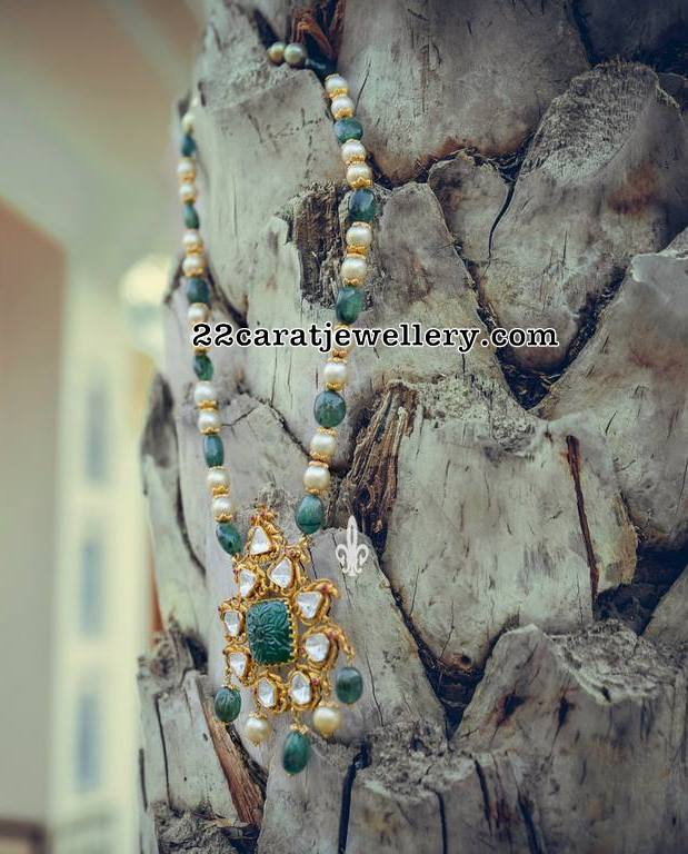 Emeralds Pearls Set with Floral Locket