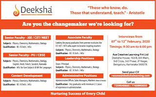 Deeksha Ace Creative Teaching Staff and Non Teaching Staff Jobs Recruitment Walk in Interview