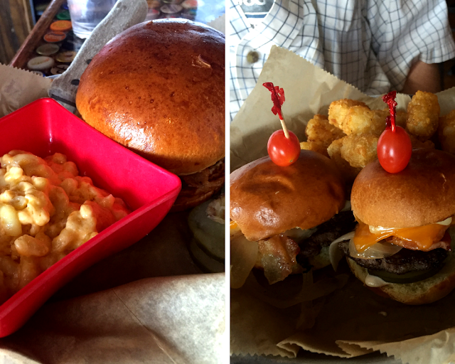 Cheese burger and Queen Mary Sliders at Andersonville Brewing in Chicago.