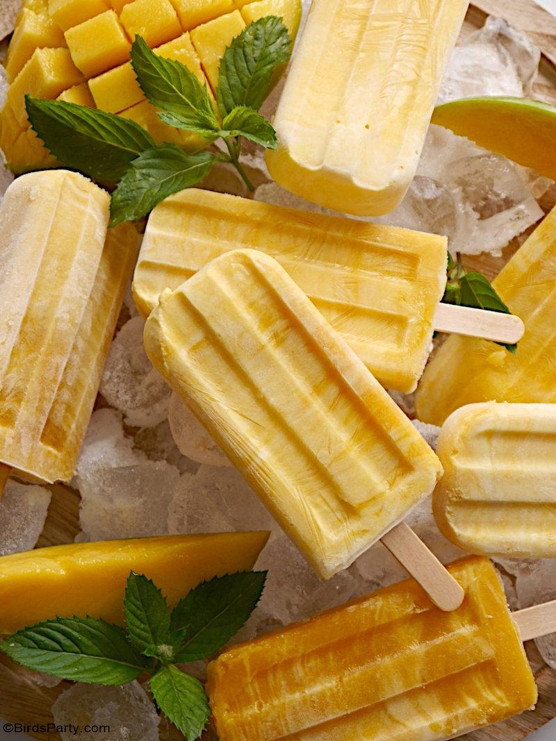 Bâtonnets Glacés Mangue et Yaourt Grecque - faciles, sains et délicieux à préparer desserts et à utiliser avec n'importe quel fruit d'été ! by BirdsParty.com @Birdsparty #glaces #fruits #recette
