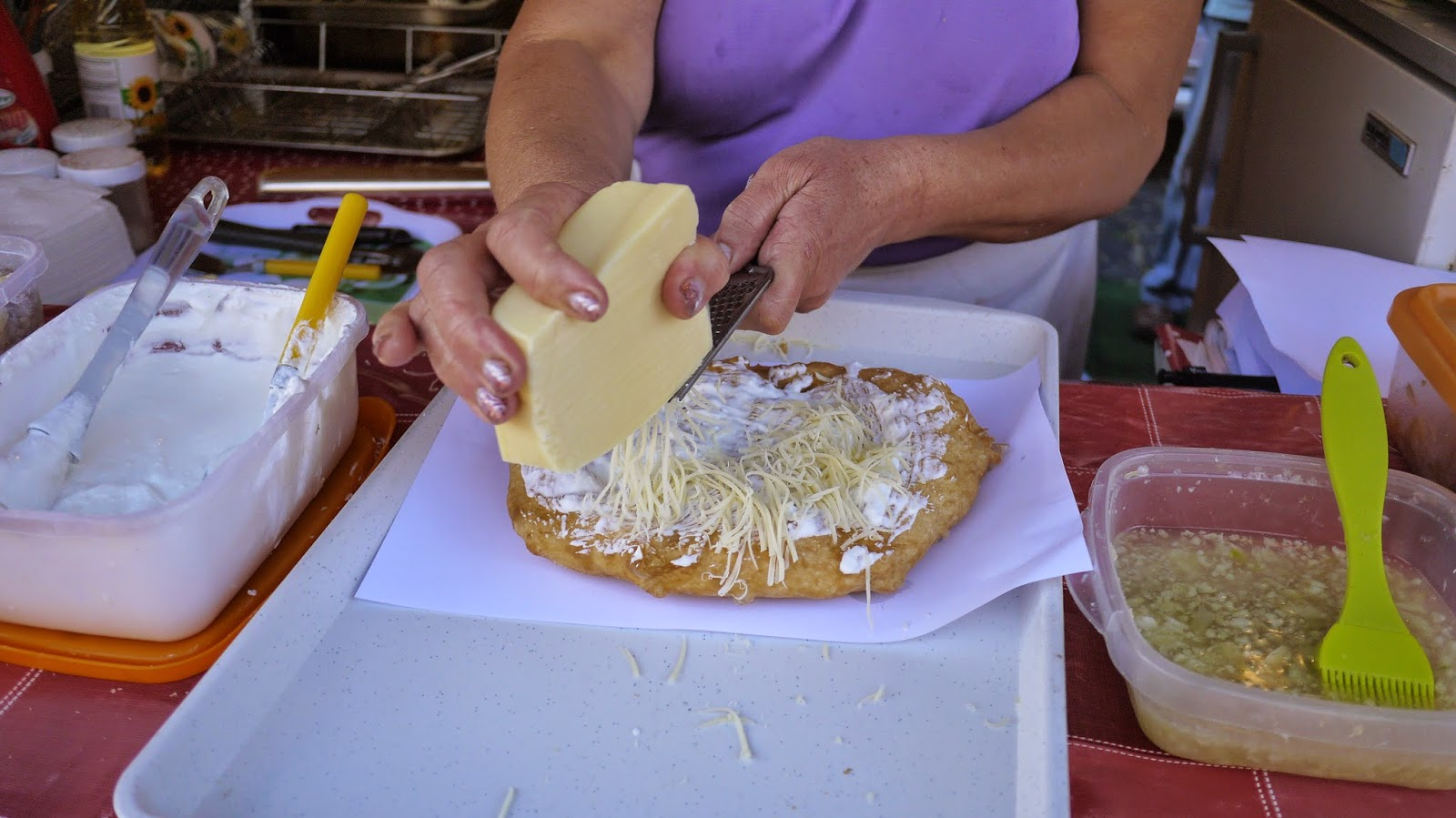 Making Langos in Budapest Hungary
