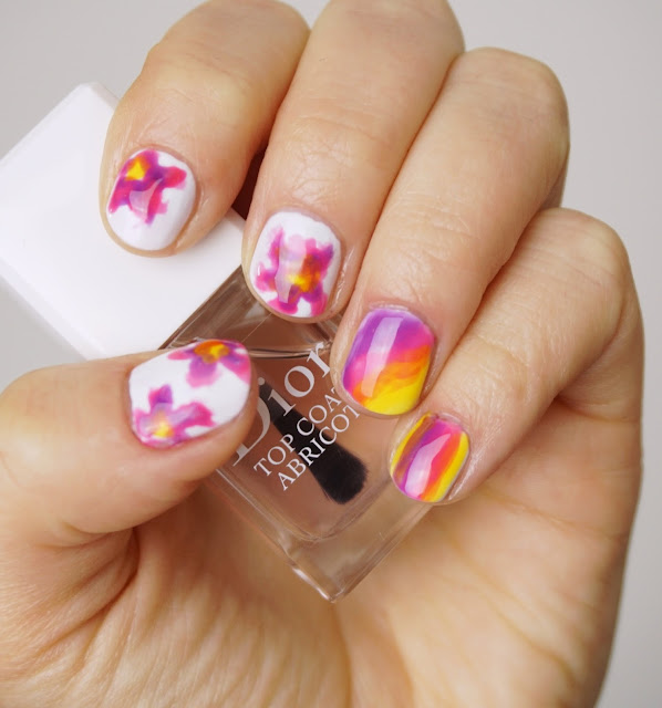 Essie - Silk Watercolor (Swept Away - Set) Nail Art, Blumen, Flowers, Regenbogen, Rainbow