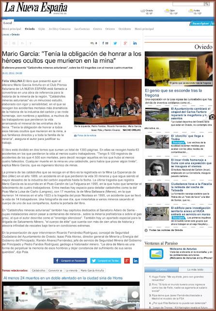 artículo, La Nueva España, Catástrofes mineras