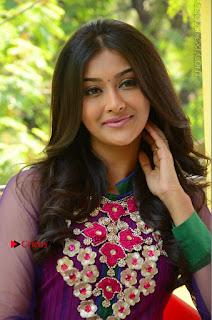 Actress Pooja Jhaveri Latest Stills in Purple Salwar Kameezt at Dwaraka Success Meet  0170.JPG