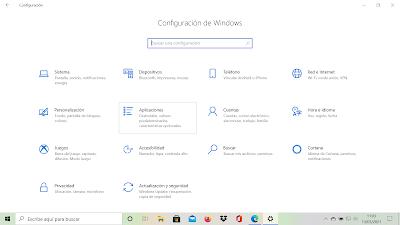Configuración de Windows en el apartado Aplicaciones