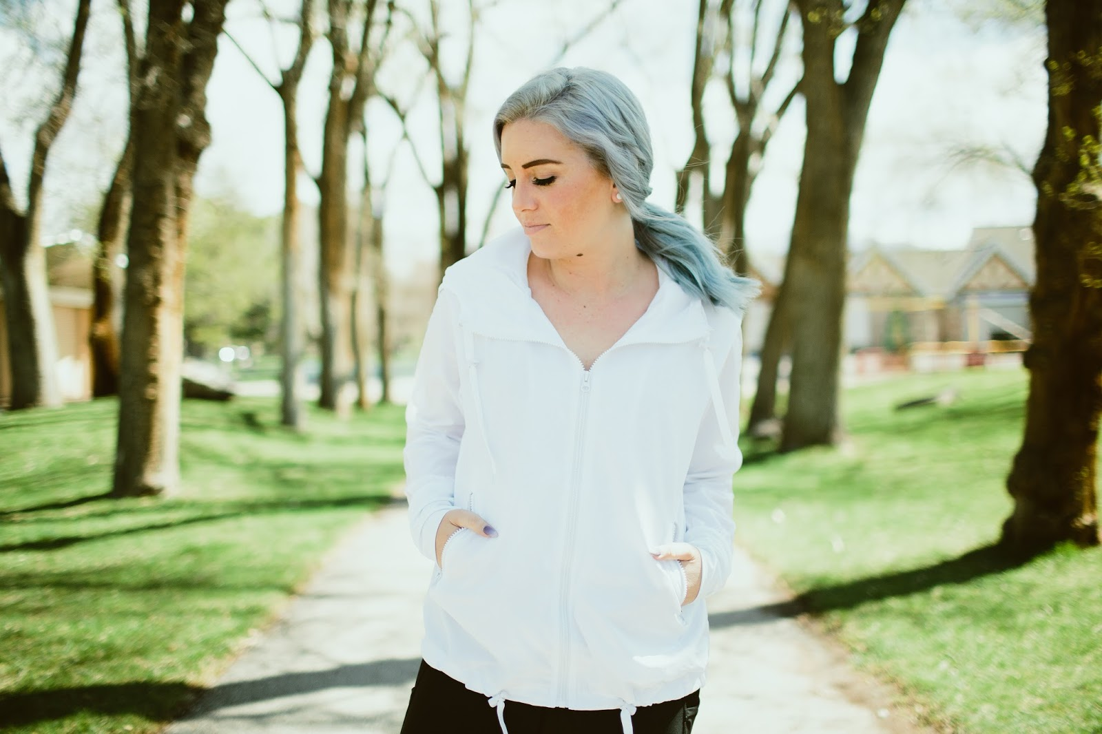 Zyia White Bomber Jacket, Utah Fashion Blogger, Workout Top