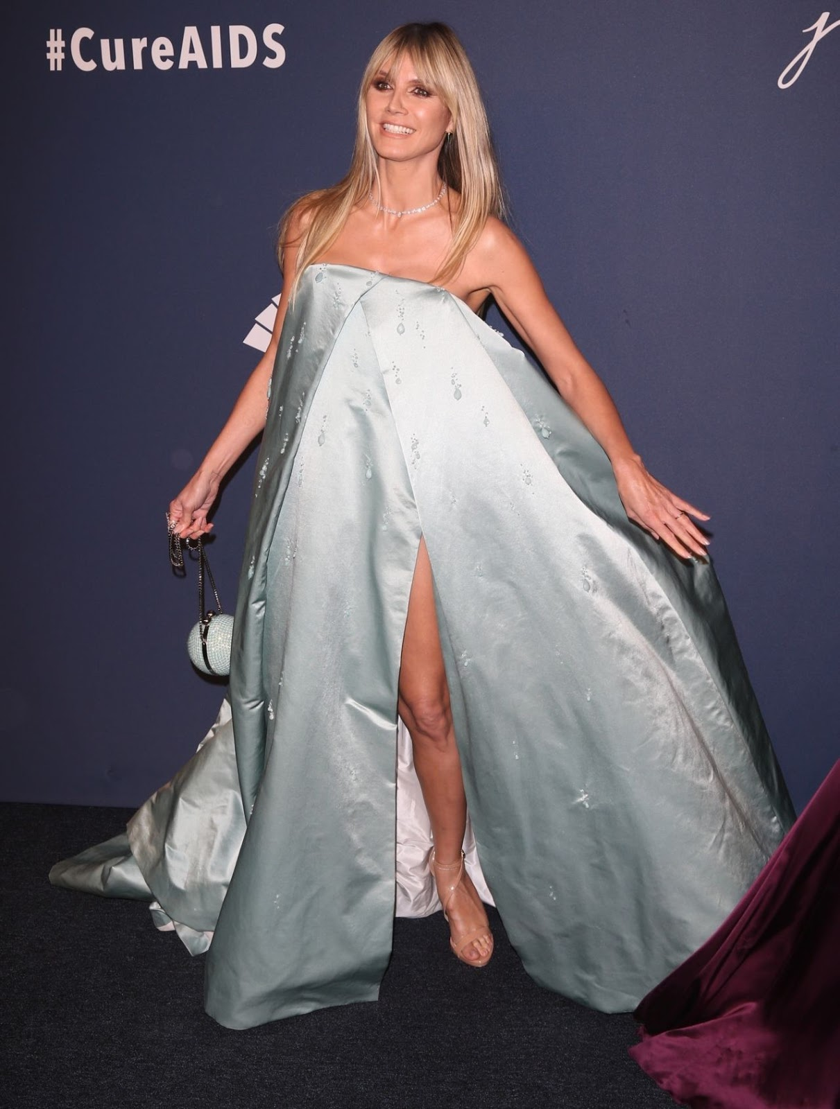 Heidi Klum sizzles in icy blue couture dress at the amfAR 2020 New York Gala