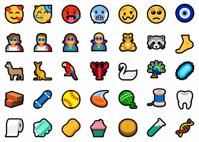 new-emoji-additions-to-windows-build-17723 & Build 18204