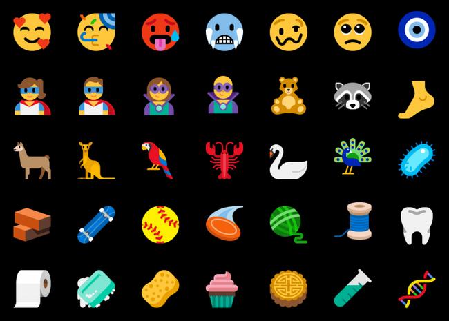 new-emoji-additions-to-windows-build-17723 & Build 18204