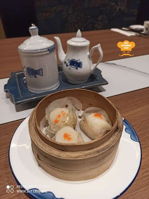 Dim Sum Menu - Steamed Scallop and Prawn Dumpling 鮮蝦帶子餃