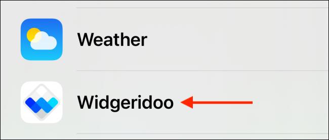 حدد Widgeridoo من القائمة