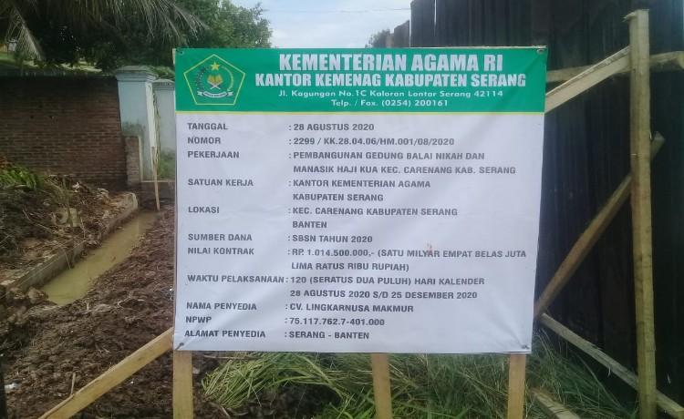 Pembangunan Gedung Balai Nikah dan Manasik Haji Carenang Diduga Terdapat Harta Karun
