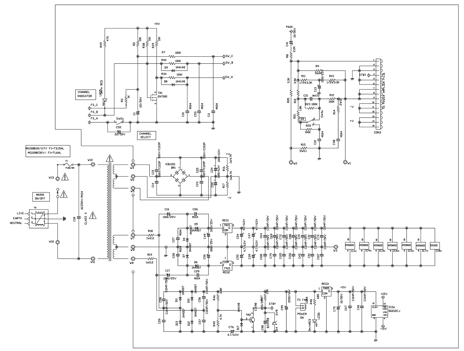 Electrotechnician  Marshall Guitar Amplifier Mg100dfx Schematic  Circuit Diagram