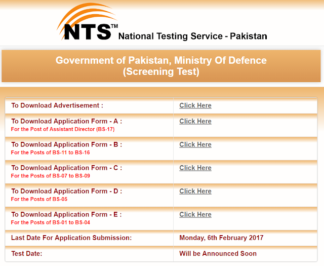 Ministry Of Defence jobs Through NTS.Last Date To Apply 6th Feb