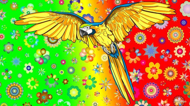 Papegaai en bloemen in felle kleuren