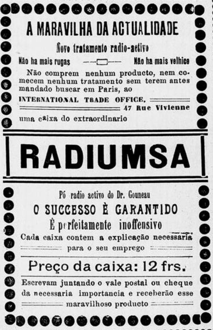 Propaganda antiga do pó radioativo para tratamento da pele em 1913