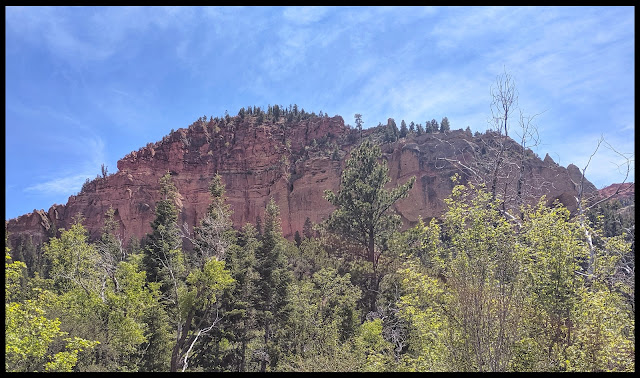 Amazing Red Mountain across from Noah's Ark.  Almost could be the bottom part of the boat.