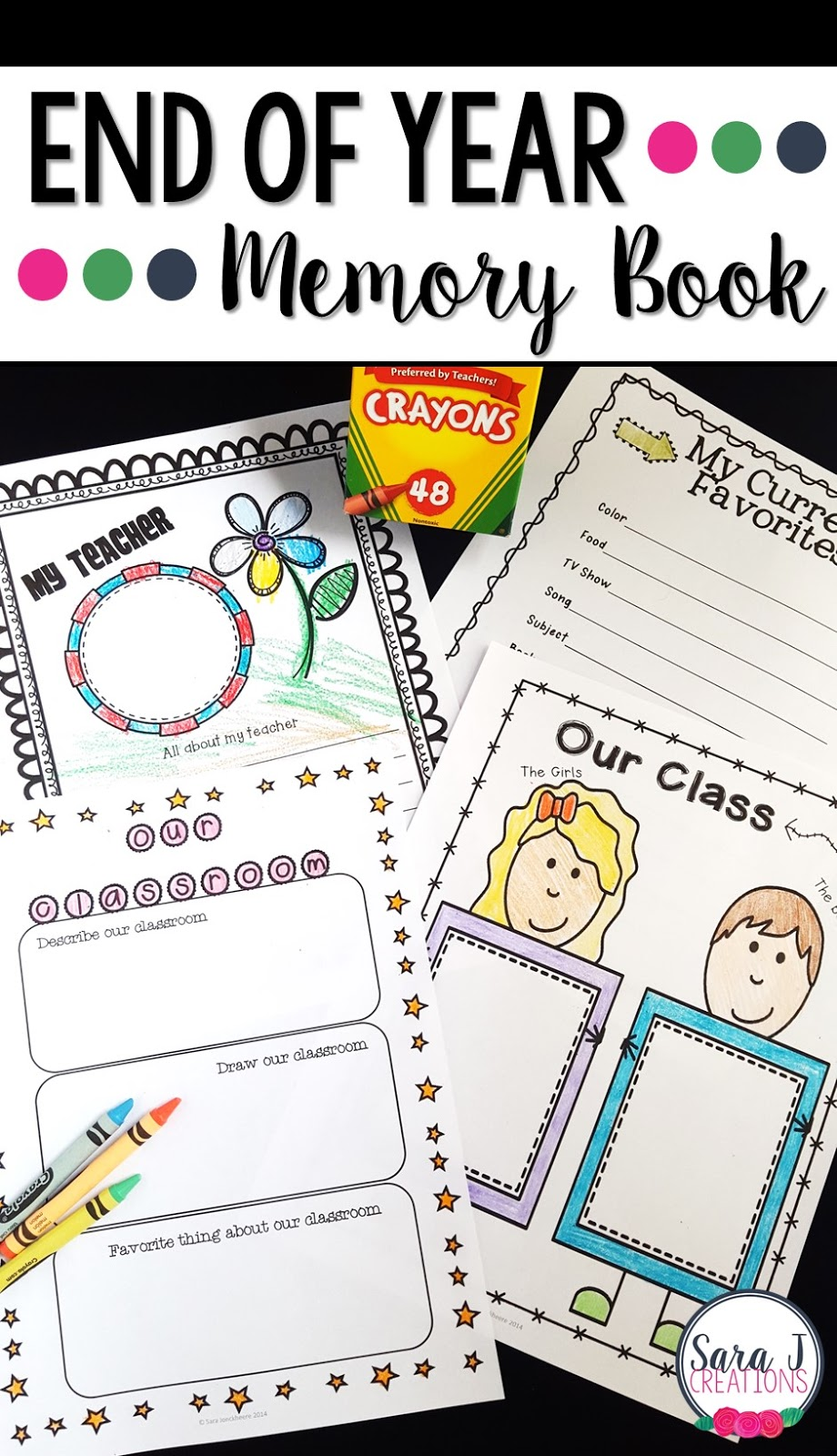 This end of the year memory book is the perfect activity to help countdown the end of the school year.