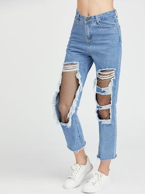 Calça Jeans com detalhes Fishnet