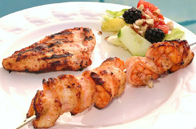 this is grilled chicken and shrimp cajun style