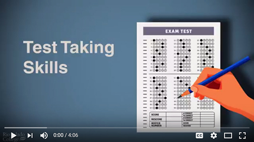 snapshot from video.  Ilustration of a test, a hand holding a pencil.  Text: Test taking Skills