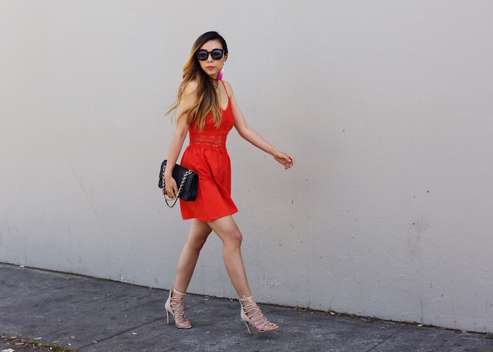 Topshop lace inset dress, red lace mini dress, red dress, date night dress, lace up sandals, schutz lace up sandals, baublebar tassel earrings, karen walker super duper sunglasses, chanel classic flap bag, date night in san francisco, san francisco street style