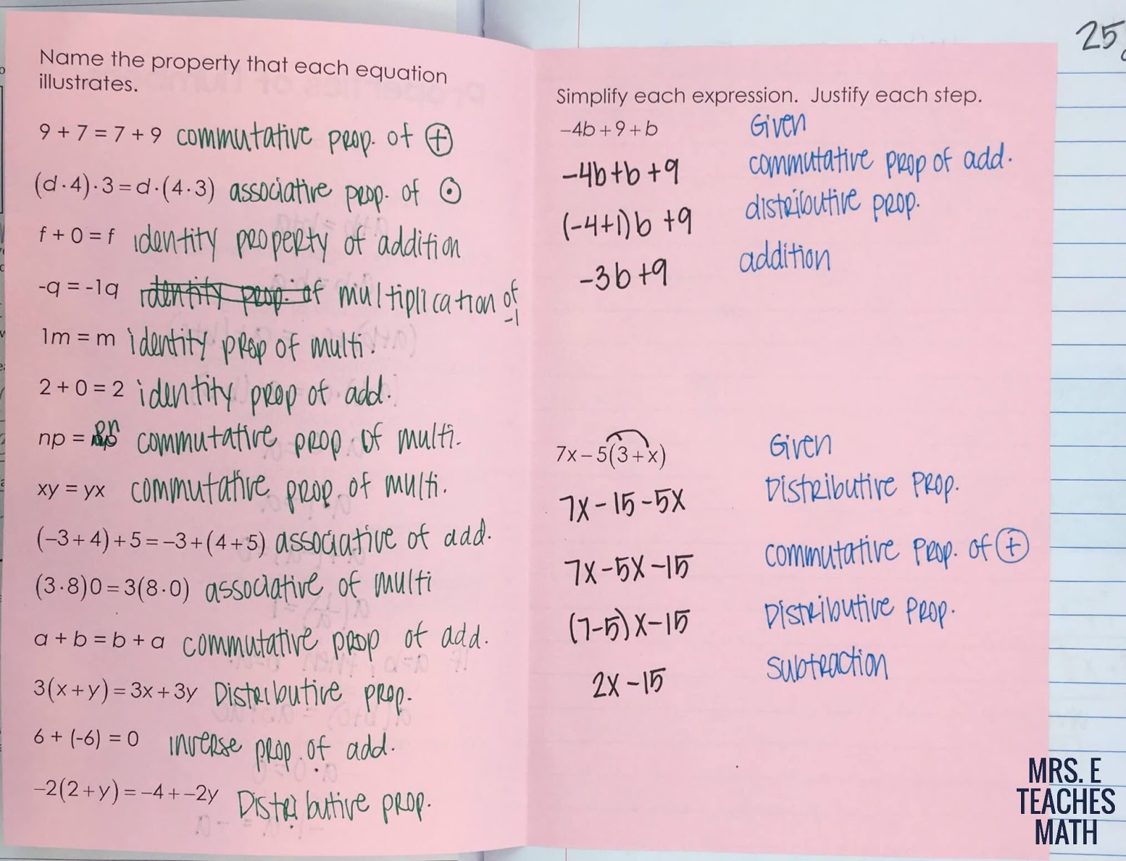 Properties Of Real Numbers Foldable