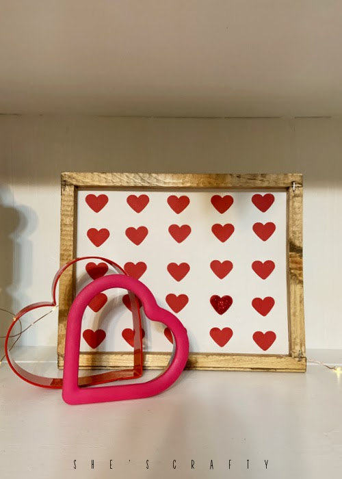 Valentine Heart Art styled on a shelf