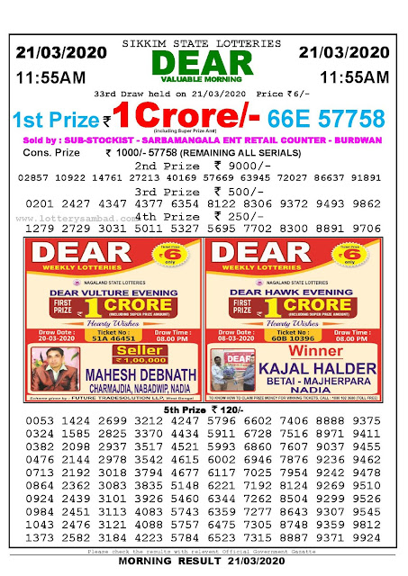 Lottery Sambad Result 21.03.2020 Dear Valuable Morning 11:55 am