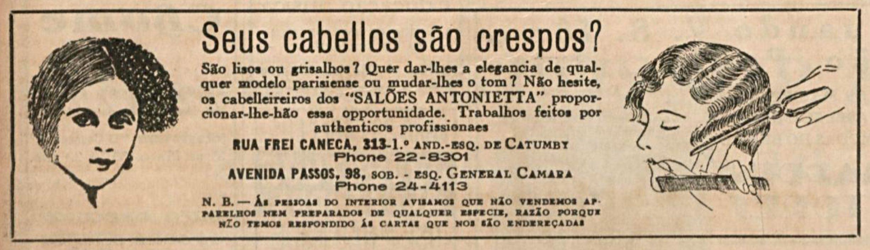 Anúncio de 1935 promovia os serviços dos Salões Antonietta