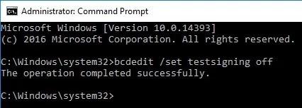 win10 تثبيت برامج التشغيل غير الموقعة اختبار وضع إيقاف التشغيل