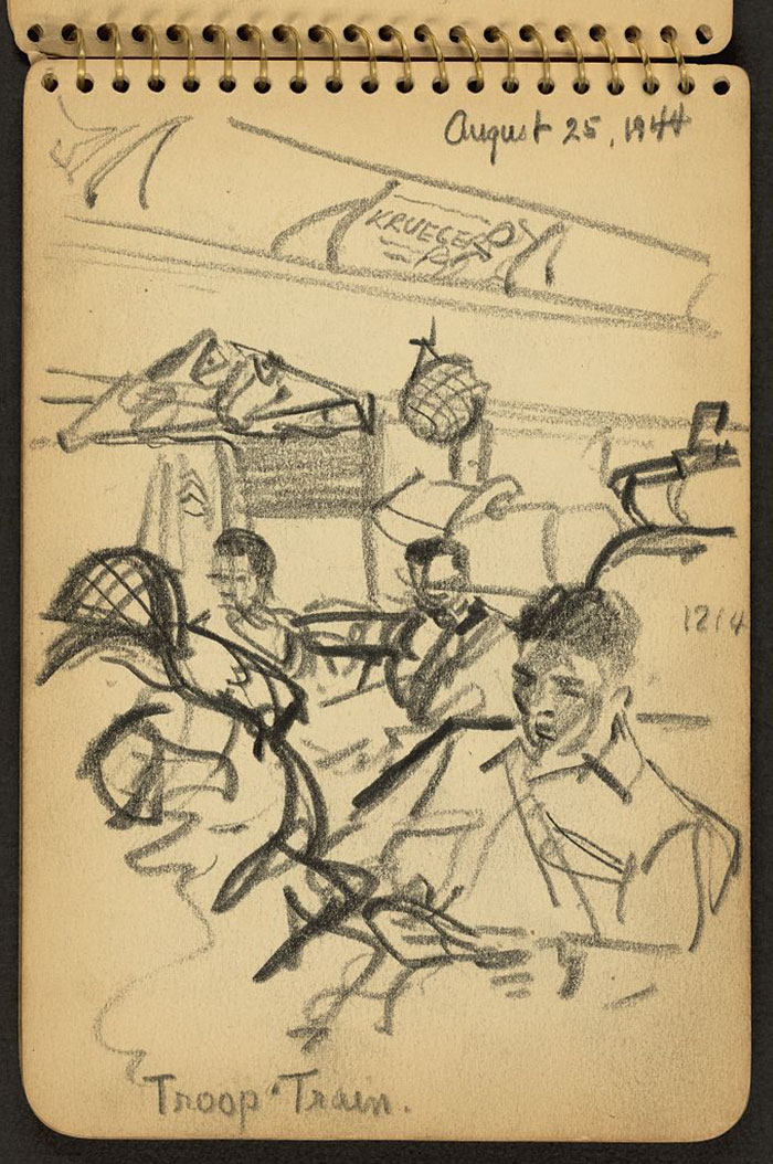 21-Year-Old WWII Soldier's Sketchbooks Show War Through The Eyes Of An Architect - Soldiers Seated On Train Bound For New York Harbor
