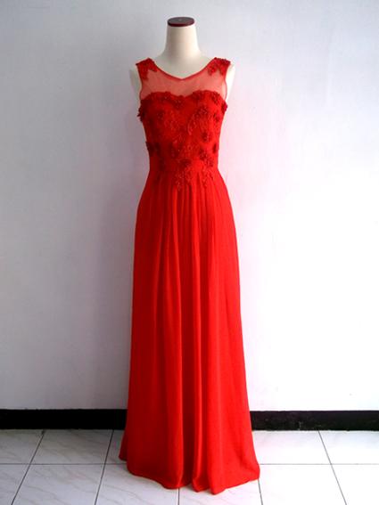 Gaun Pesta Panjang Merah Brokat Sifon