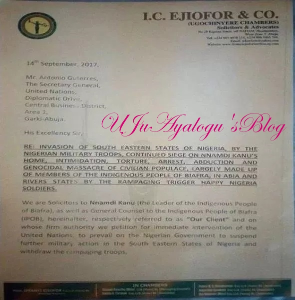 IPOB Leader, Nnamdi Kanu petitions UN, EU, US, 4 other countries over military operation in south east (see letter)