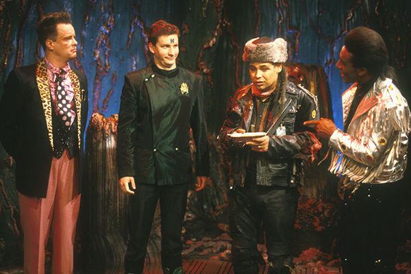 """The human version of Kryten (Robert Llewellyn) with Rimmer (Chris Barrie), Lister (Craig Charles) and Cat (Danny John-Jules) in """"DNA"""""""