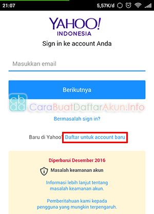buat email yahoo lewat hp android