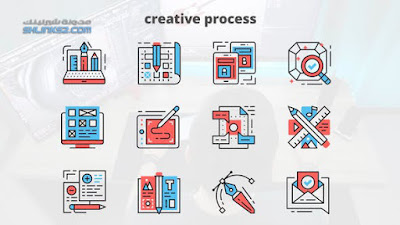 تحميل مجاني قوالب افتر افكت | Creative Process – Thin Line Icons 23455860 Videohive