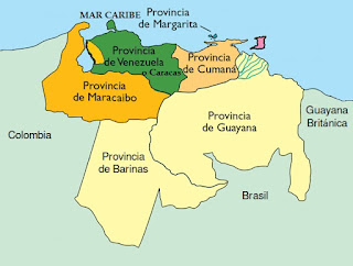 Mapa de la Capitanía General de Venezuela 1810