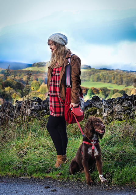 Primark red check smock dress styling