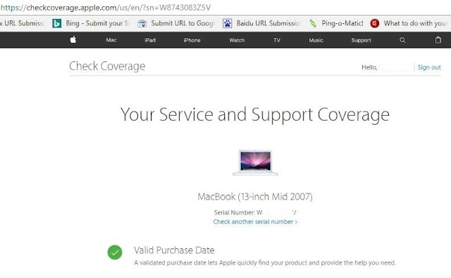 Find your Mac Model on Apple Check coverage page