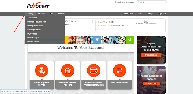 Share your Payoneer affiliate $25 Referral Link