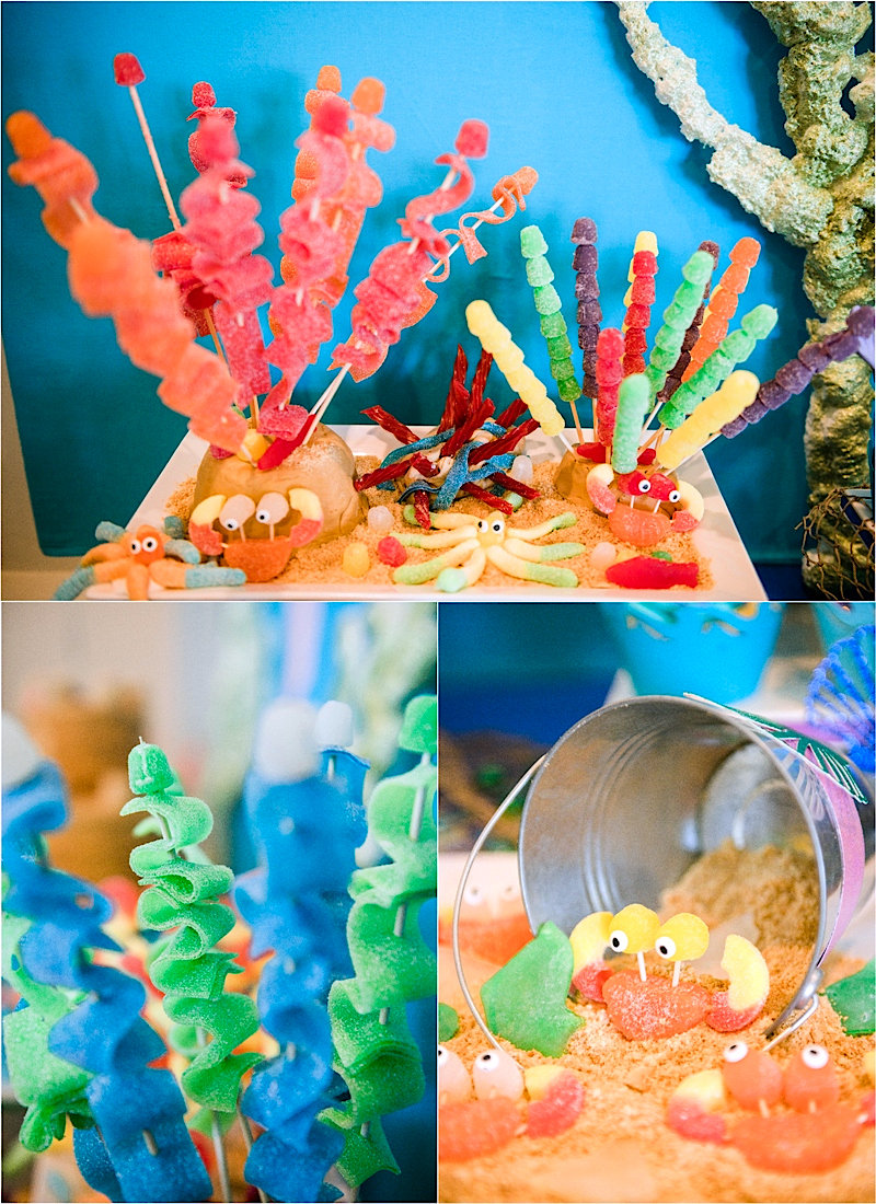 A Sparkly Under The Sea Birthday Party - inspired by Finding Dory and Nemo, this party is full of amazing DIY and creative details, food and party favors ideas! via BirdsParty.com @birdsparty #underthesea #mermaidparty #nemobirthday #findingdory #findingnemo #mermaidbirthday