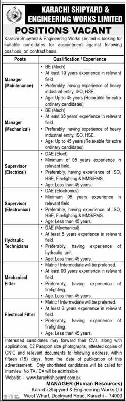 Latest Karachi Shipyard & Engineering Works Limited Jobs Opportunities 2020