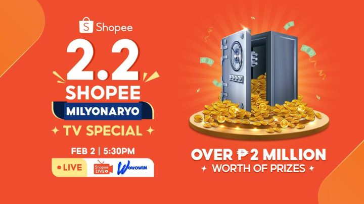 Win over Php 2M worth of prizes during 2.2 Shopee Milyonaryo TV Special