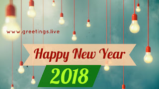 Modern greeting live 2018 electrical bulbs hanging concept