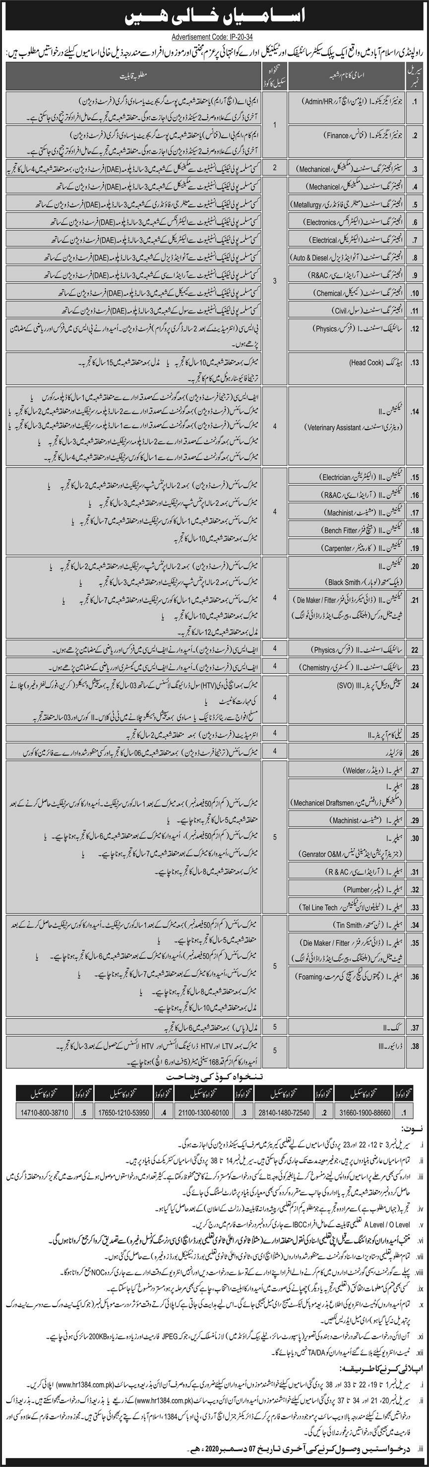 Public Sector Organization PO Box 1384 Latest 2020 Jobs in Pakistan - Online Application Form - www.hr1384.com.pk