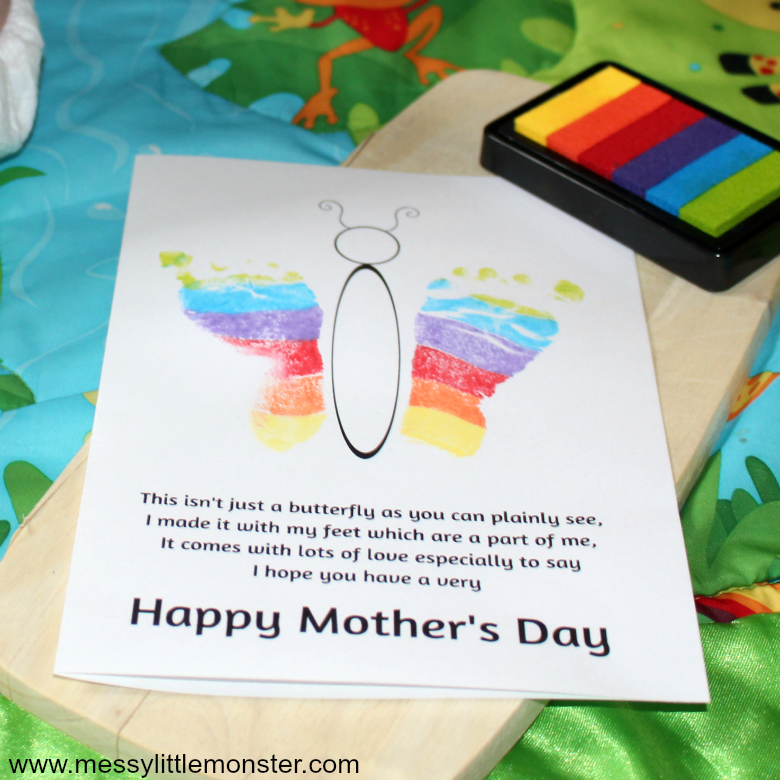 Help the kids to use our printable Mother's Day poem to make a footprint butterfly poem keepsake for Mom! This easy Mothers Day card craft is perfect for toddlers and preschoolers.