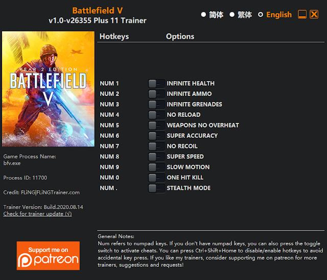 Tampilan Trainer game  Battlefield V PC