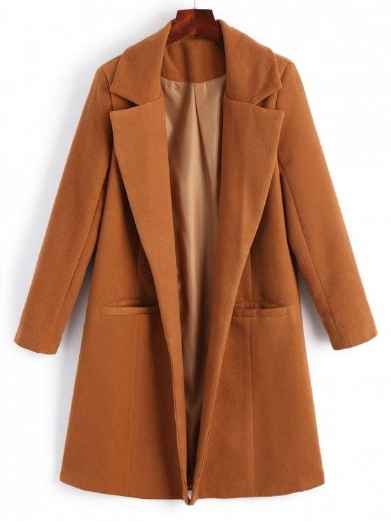 Lapel Open Front Wool Blend Coat
